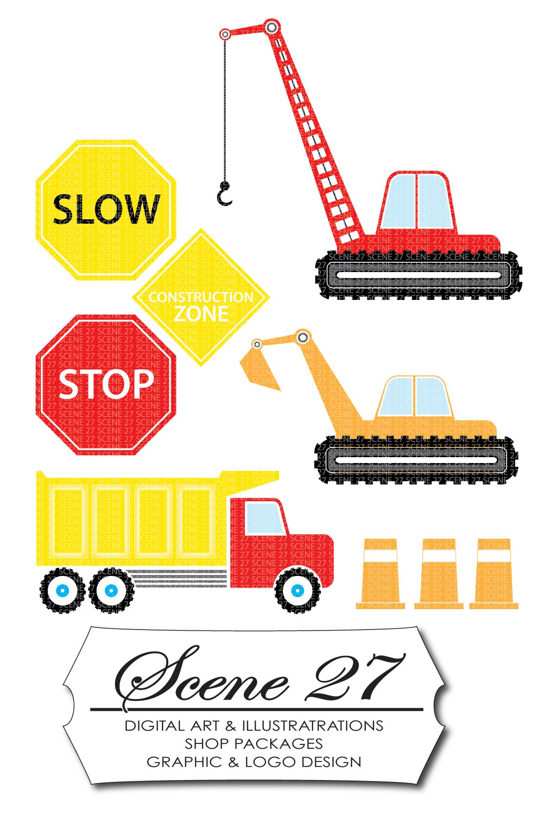 Clipart of the Construction Zone Signs free image.