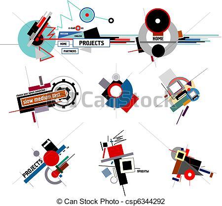 Clip Art of Compositions of constructivism.