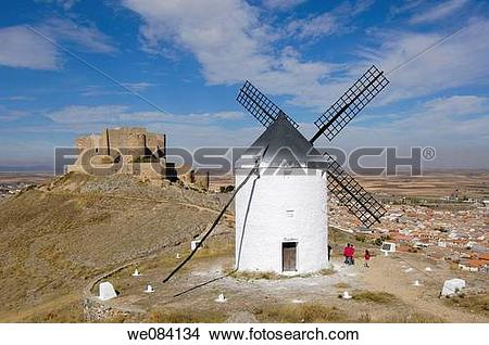 Stock Photo of Windmill and Knights Hospitaller's fortress (12th.