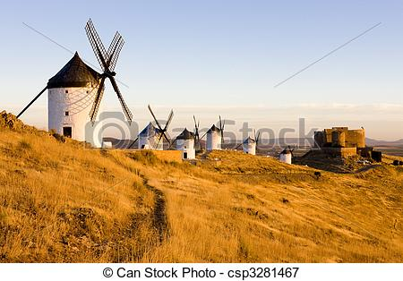 Picture of windmills with castle, Consuegra, Castile.