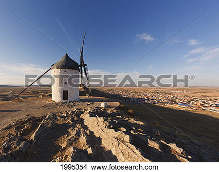 Stock Photo of Windmill And A Castle; Consuegra Toledo Province.