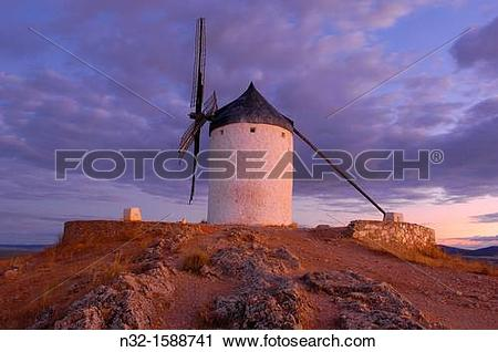 Stock Photography of Windmill, Consuegra, Toledo province, Route.
