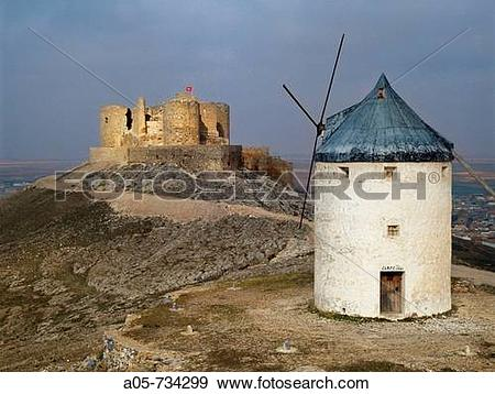Stock Photograph of Windmill and castle, Consuegra. Toledo.