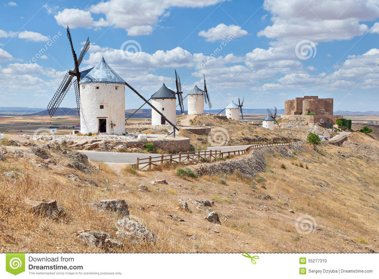 Famous Windmills Of Consuegra, Toledo Province, Spain Stock Photo.