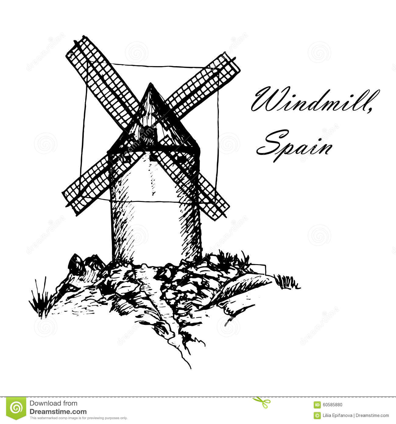 Don Quixote Windmills In Consuegra Spain Sketch Hand Drawn.