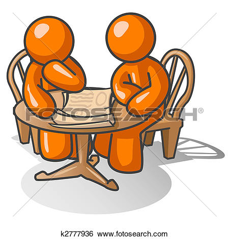 Stock Illustrations of Orange Man Consultation k2777930.