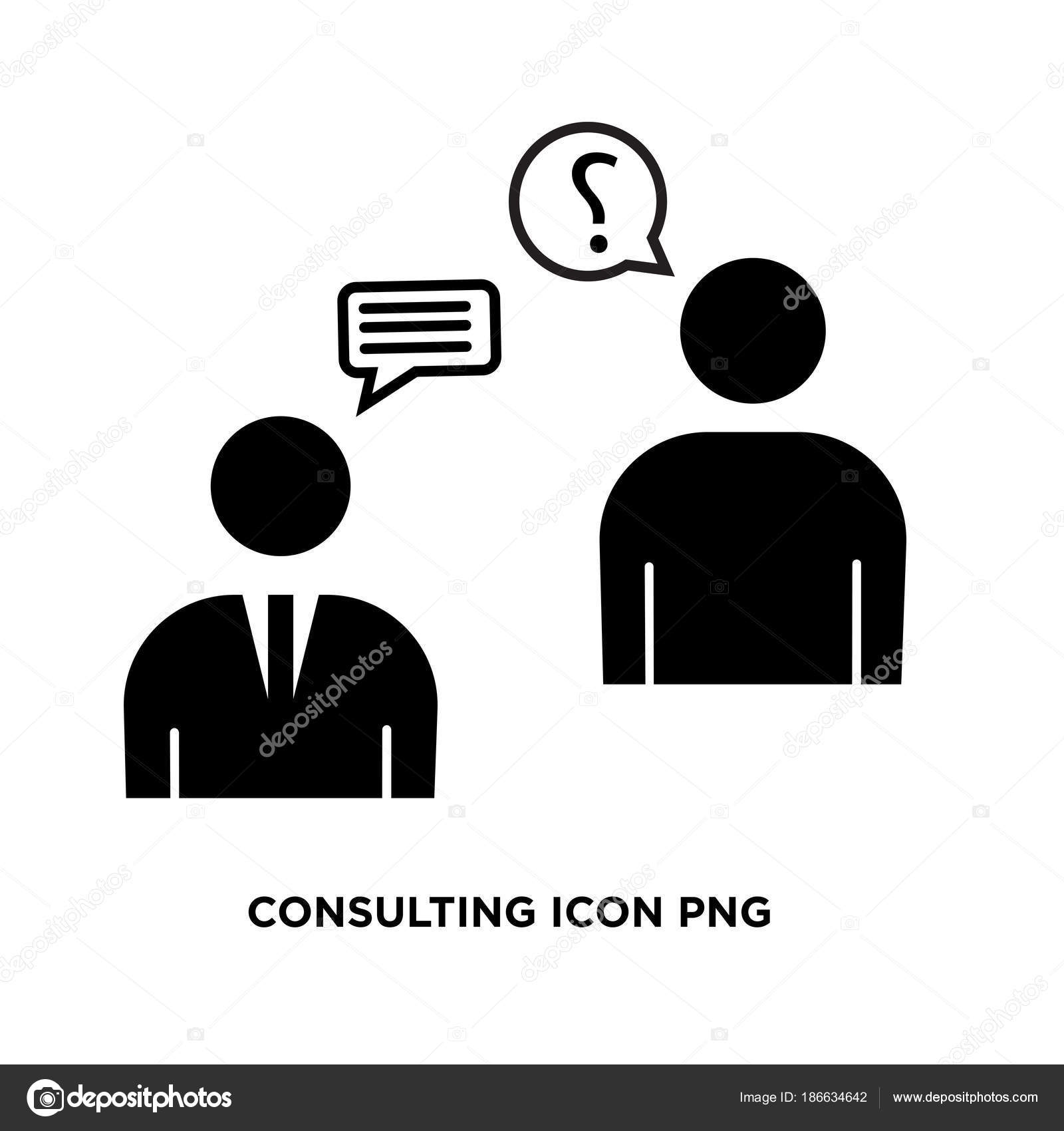 Consulting icon png, flat vector sign isolated on white backgrou.