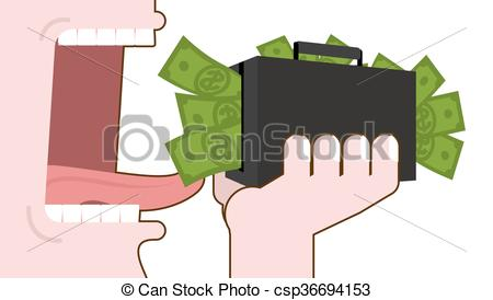 Clipart Vector of Man eating money. Destruction of suitcase with.