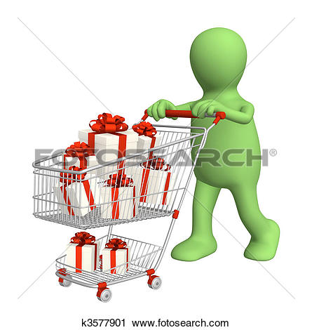 Clip Art of Consumer with shopping cart and gifts k5107292.