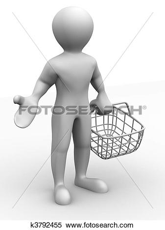 Stock Illustration of man with consumer basket k3792455.