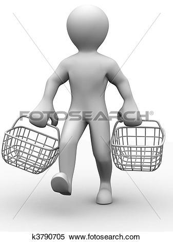 Stock Illustration of man with consumer basket k3790705.