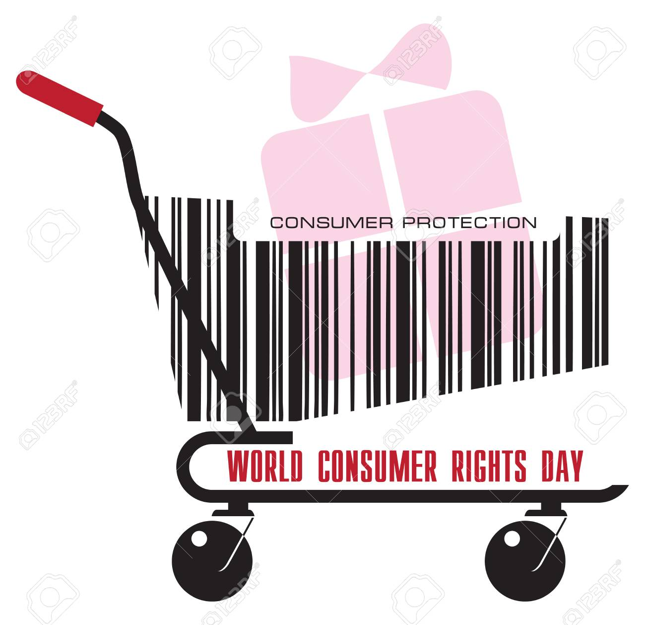 A trolley from the store with a gift for the day of World Consumer...