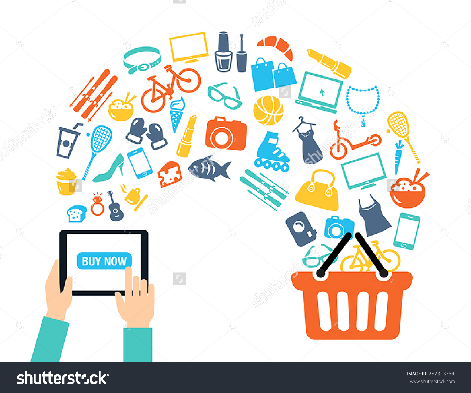 Shopping Background Concept Icons Shopping Online Stock Vector.