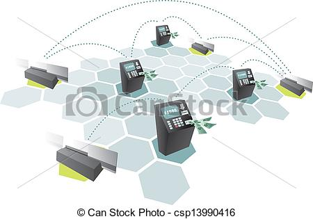 Vector Clip Art of ATM network and credit cards connecting.