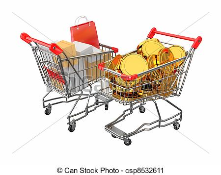 Clipart of Consumerism. Shopping cart with boxes and coins. 3d.