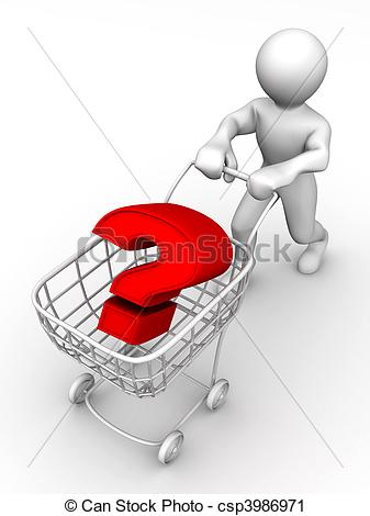 Clipart of Consumer\'s basket with question. 3d csp3986971.