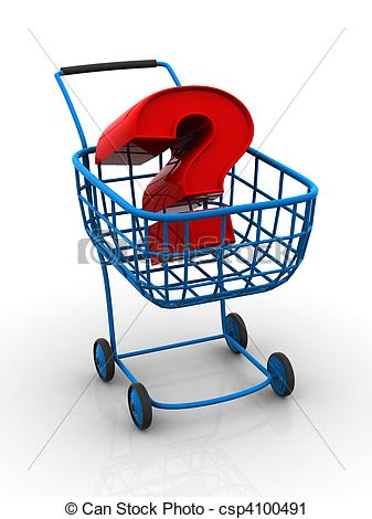 Clipart of Consumer\'s basket with question. 3d csp4100491.