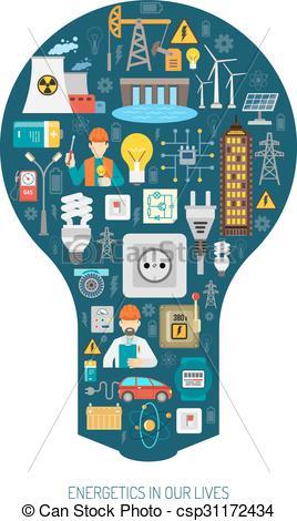 Vectors of Energy production consumption concept bulb poster.