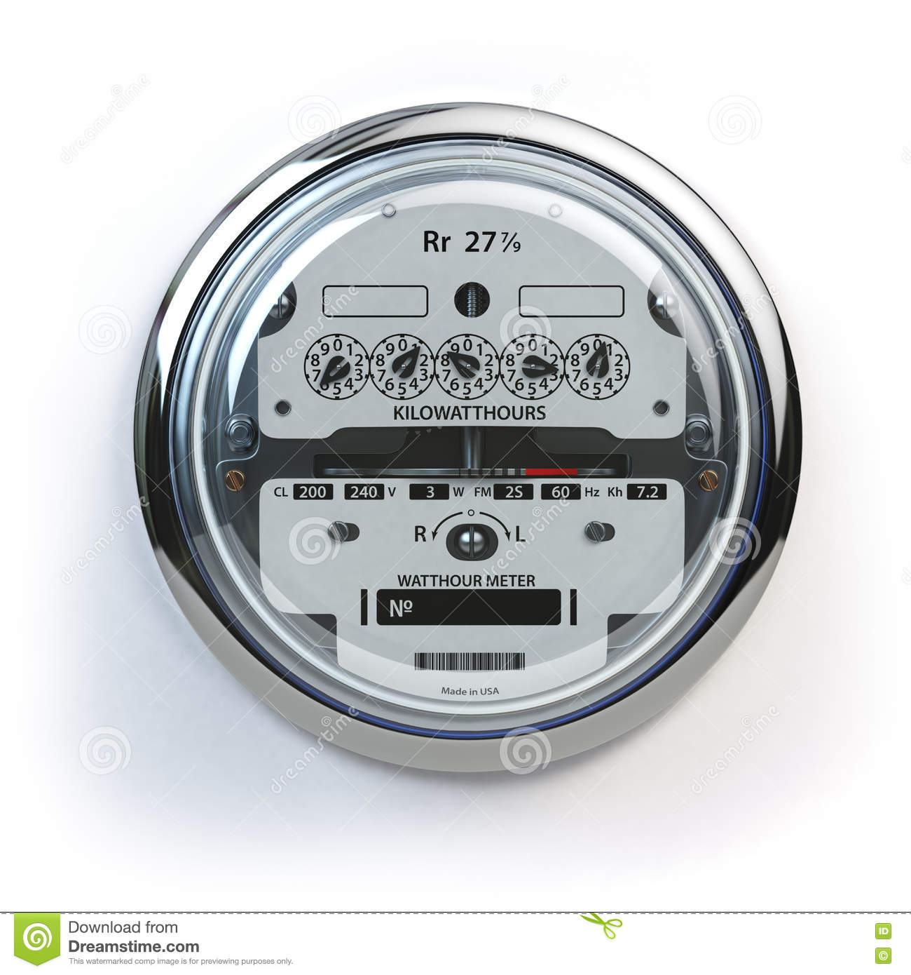 Analog Electric Meter On White. Electricity Consumptio Stock.