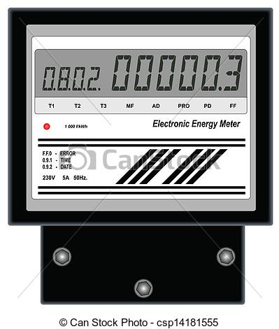 Clipart Vector of Electronic Energy Meter.