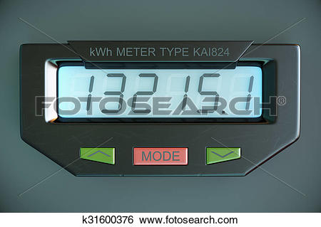 Stock Illustration of Digital electricity meter showing household.