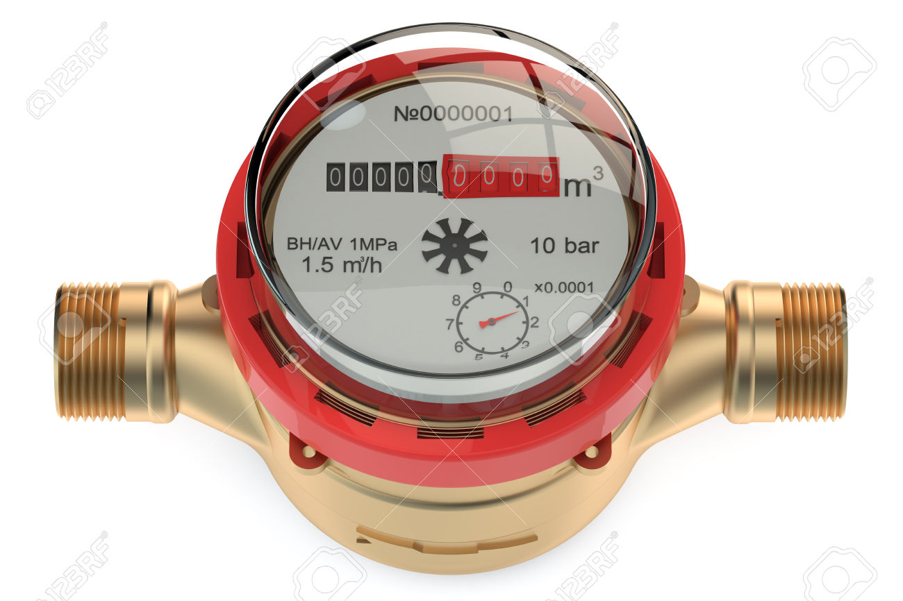 Hot Water Meter Isolated On White Background Stock Photo, Picture.