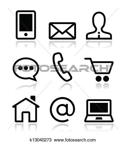 Clipart of Contact web vector icons set k13040273.