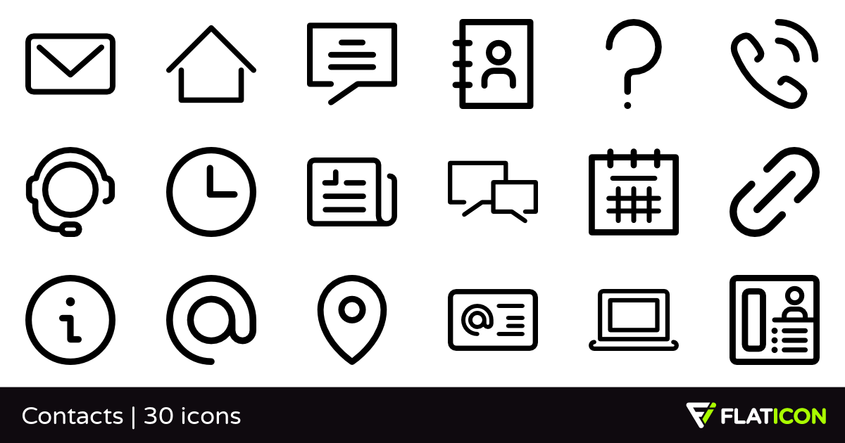 Contacts 30 free icons (SVG, EPS, PSD, PNG files).