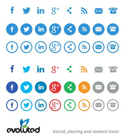 Free Social Media, Share & Contact Icons.
