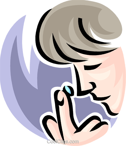person putting in a contact lens Royalty Free Vector Clip Art.