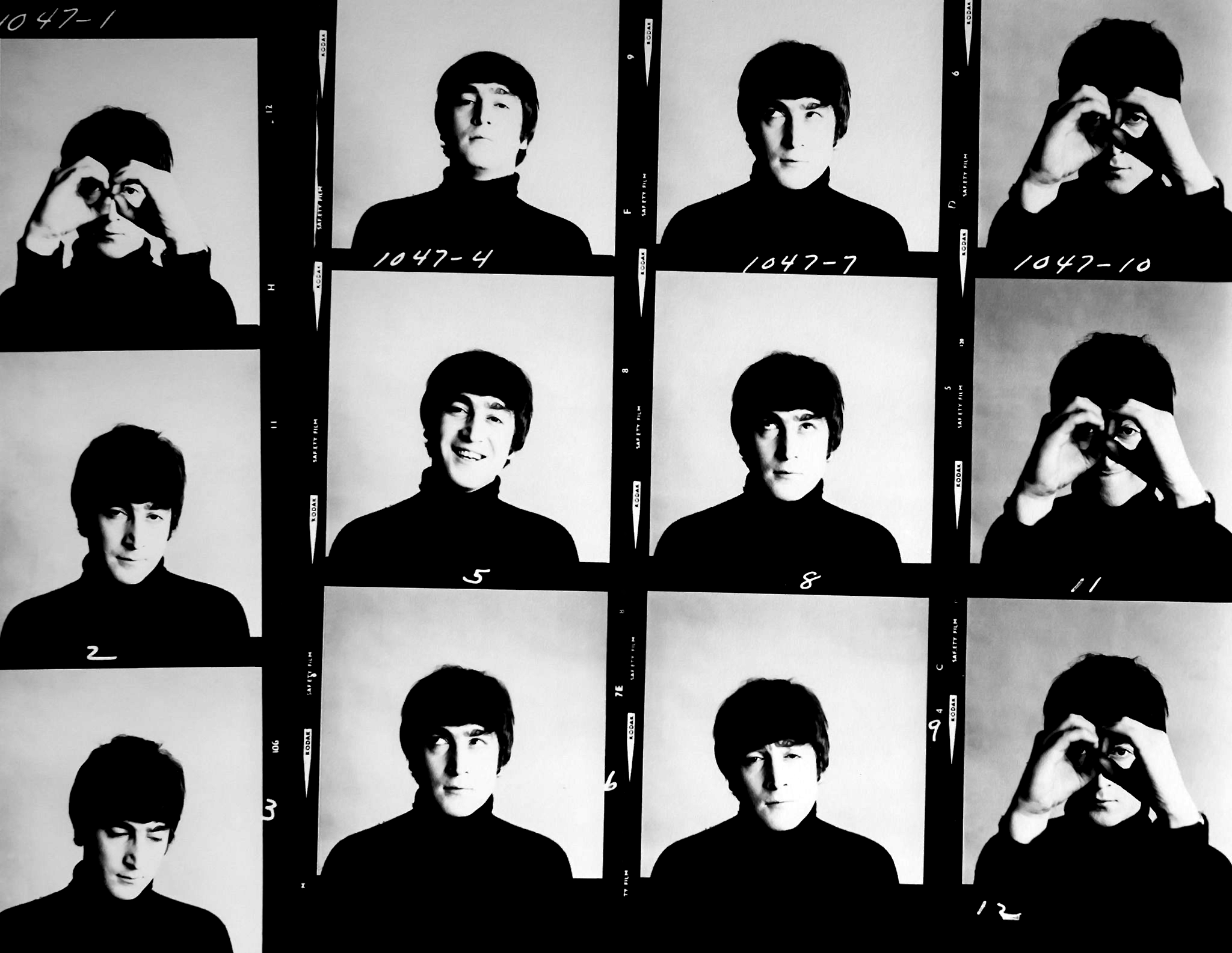John Lennon contact sheet from A Hard Day's Night : beatles.