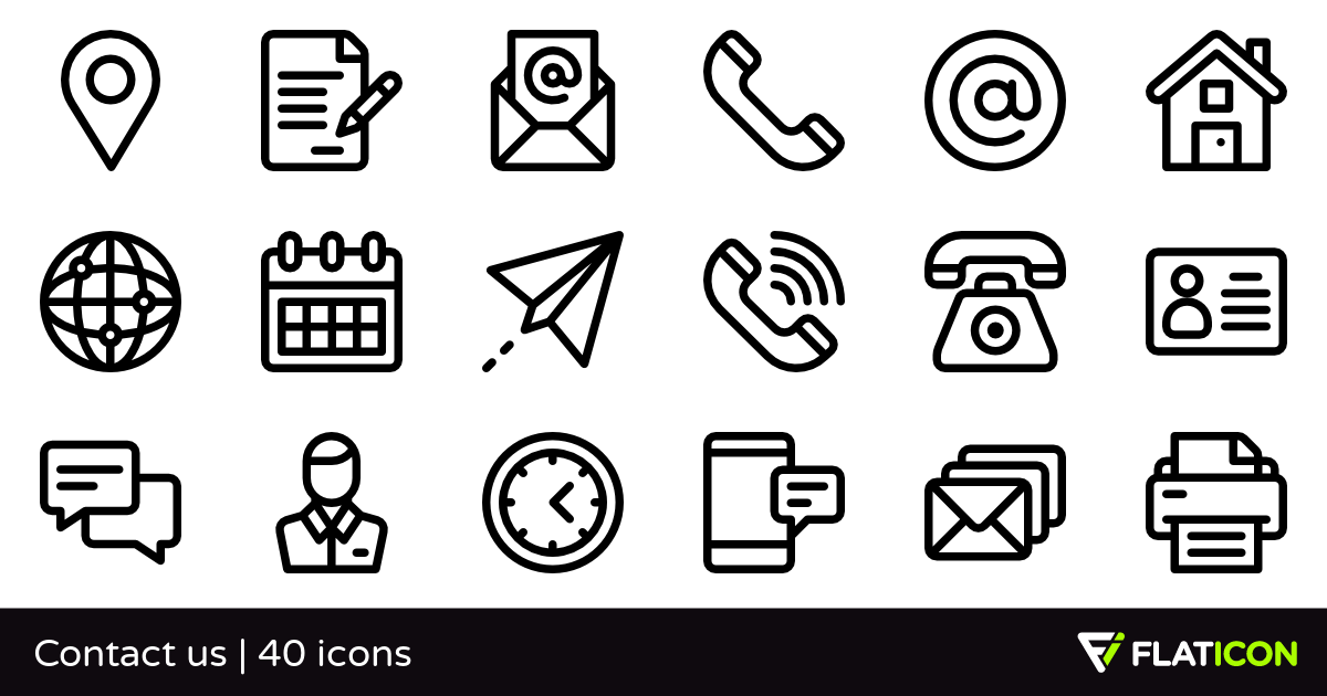 Contact us 40 free icons (SVG, EPS, PSD, PNG files).