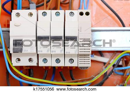 Stock Images of Electrical panel box with fuses and contactors.