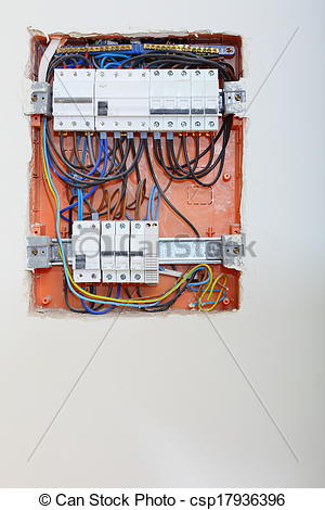 Stock Photographs of Electrical panel box with fuses and.