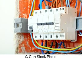 Stock Photos of Electrical panel box with fuses and contactors.