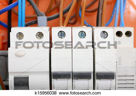 Pictures of Electrical panel box with fuses and contactors.