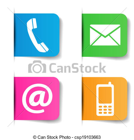 Clip Art Vector of Contact Us Internet Icons.