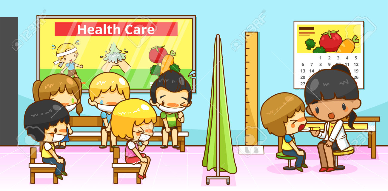 Cartoon Physician Doctor Or Pediatrician Diagnoses Group Of.