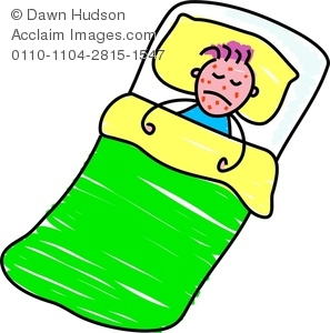 Clipart Image of A Sad Child Lying Sick In Bed.