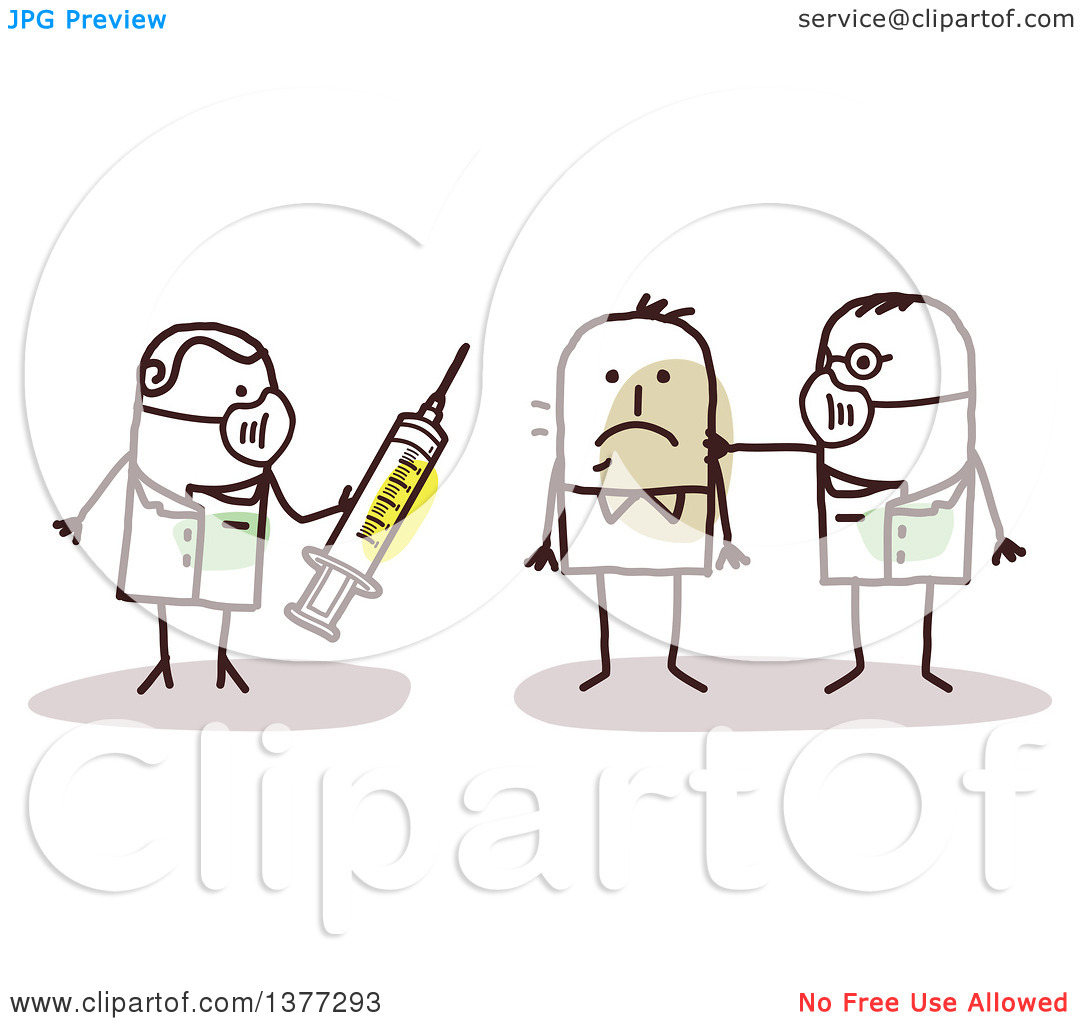Clipart of Stick Male Doctors Treating a Contagious Man with a.