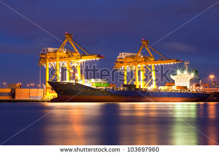 Cargo Sea Port Stock Photos, Royalty.