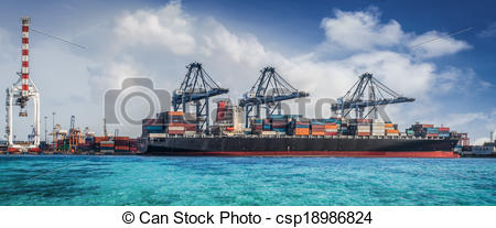 Clip Art of Container Cargo freight ship with working crane.