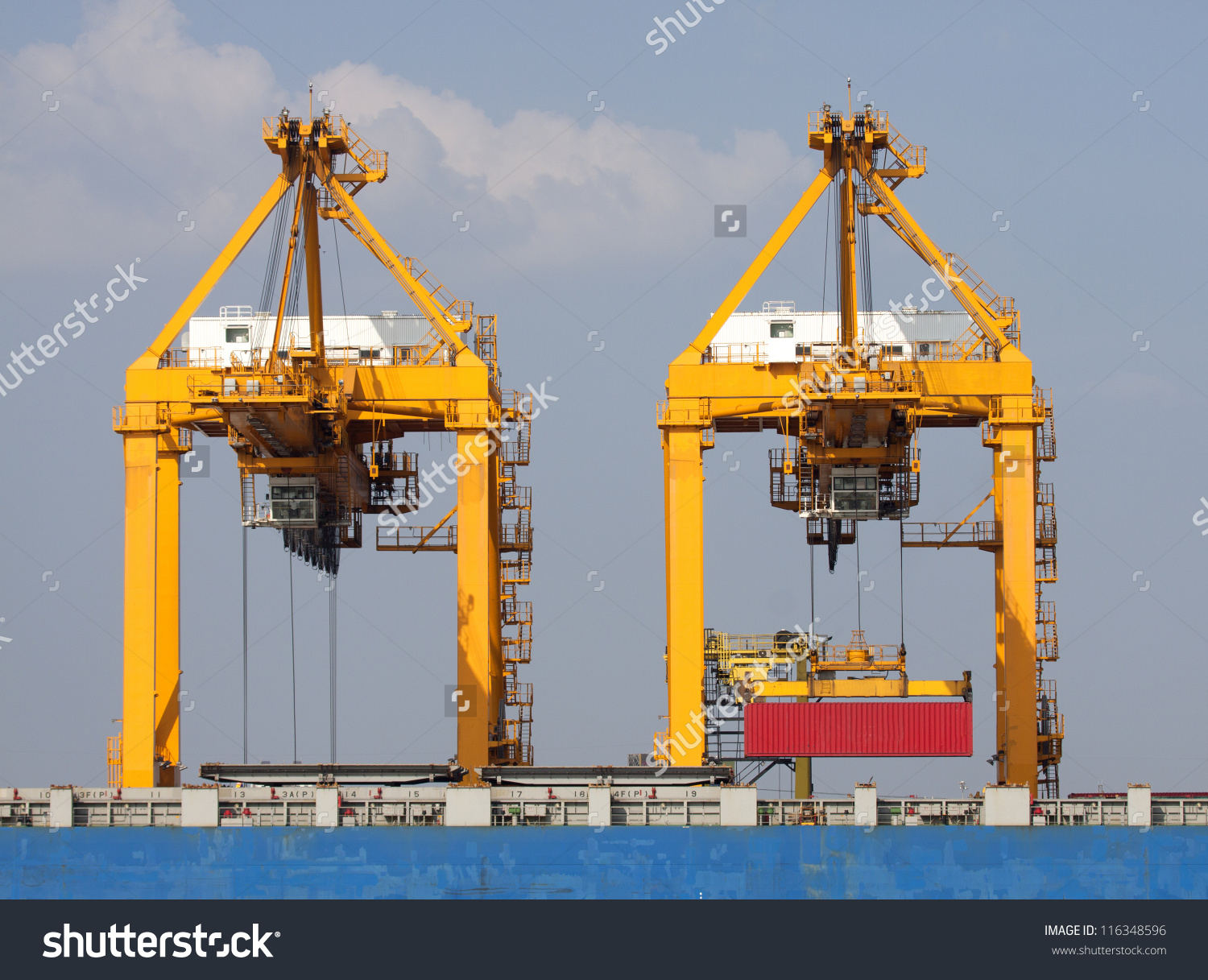 Container Cargo Freight Ship Working Crane Stock Photo 116348596.