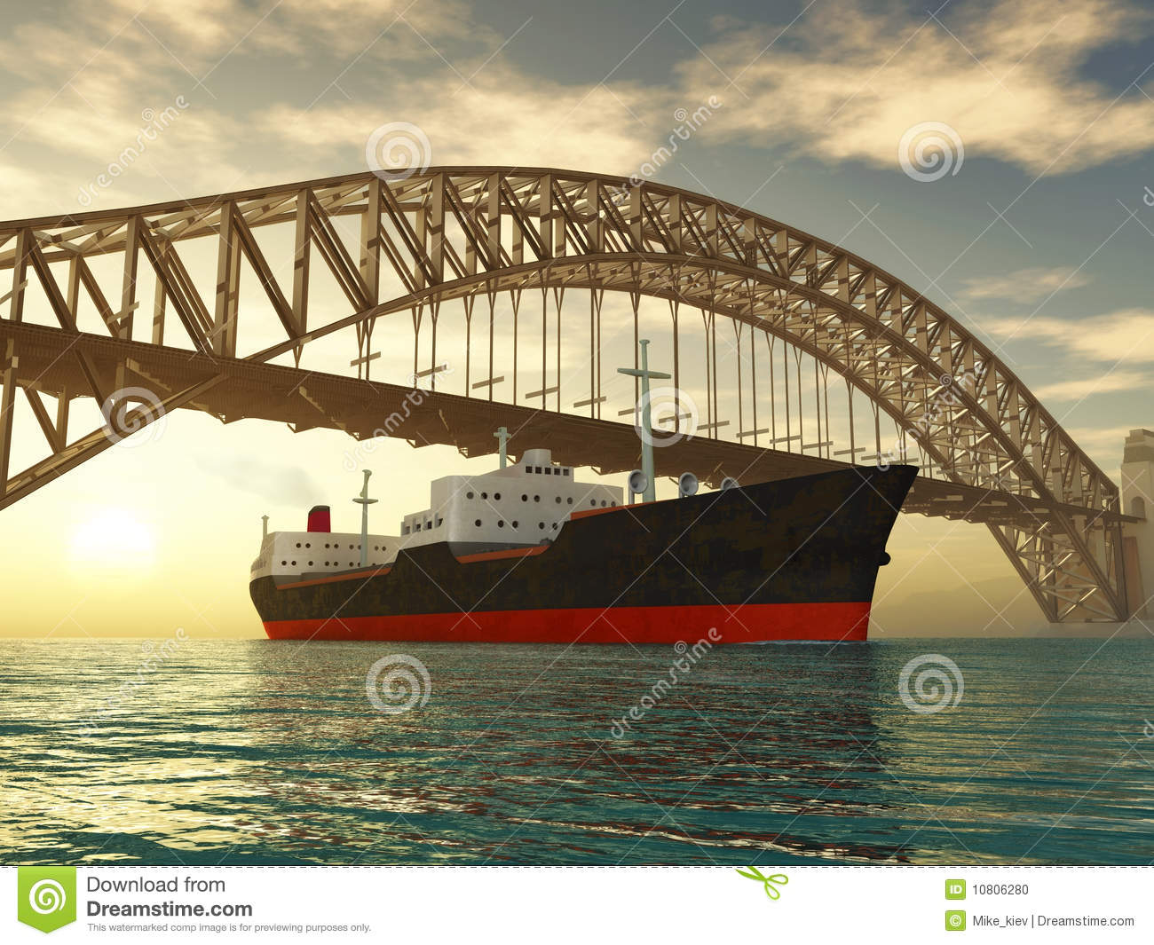 Cargo Ship Sail Under Bridge Stock Photo.