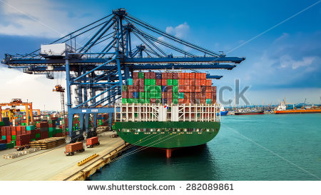 Industrial Container Cargo Freight Ship Working Stock Photo.
