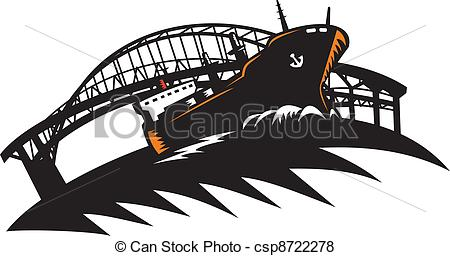 Vector of Freighter Cargo Container Ship With Bridge Illustration.