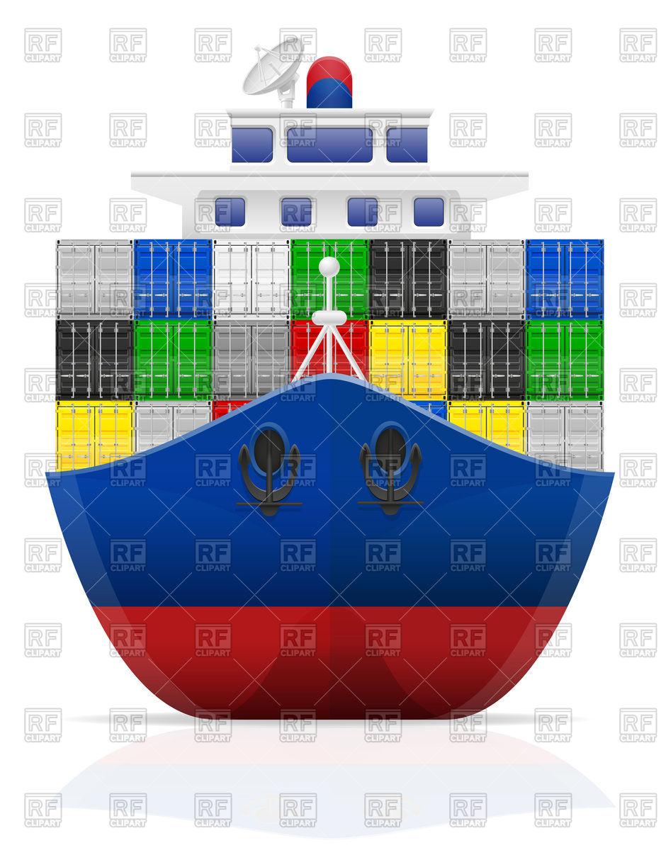Nautical cargo ship front view Vector Image #91438.