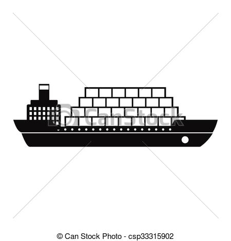 Container ship clipart black and white.