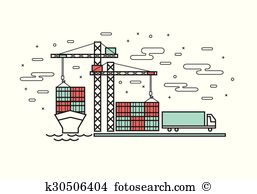 Container terminal Clipart EPS Images. 485 container terminal clip.