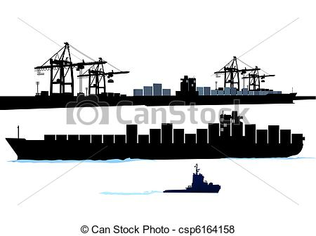 Vector of Port with container ship csp6164158.